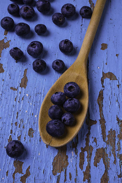 Blue Berry Photograph - Blueberries On Blue Board by Garry Gay