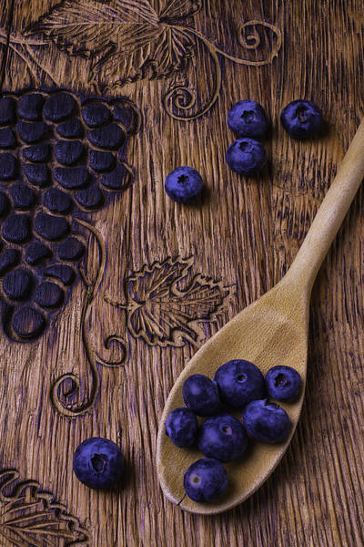 Blue Berry Photograph - Blueberries With Carvings  by Garry Gay