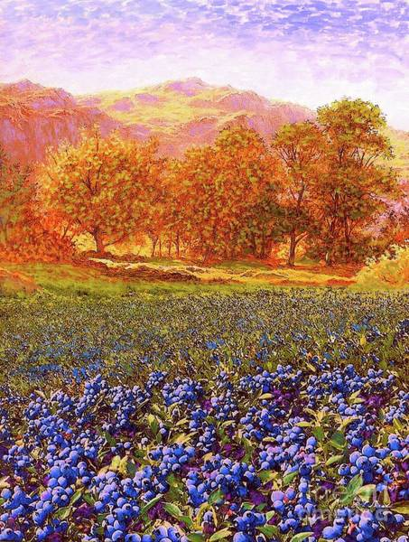 California Landscape Painting - Blueberry Fields Season Of Blueberries by Jane Small