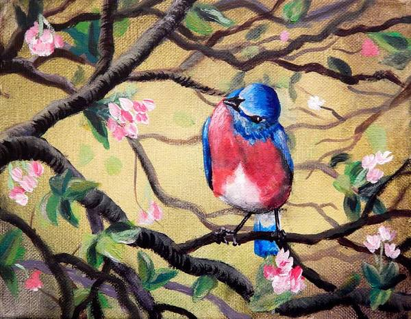 Happy Little Trees Painting - Bluebird By Gretchen Smith by Gretchen  Smith