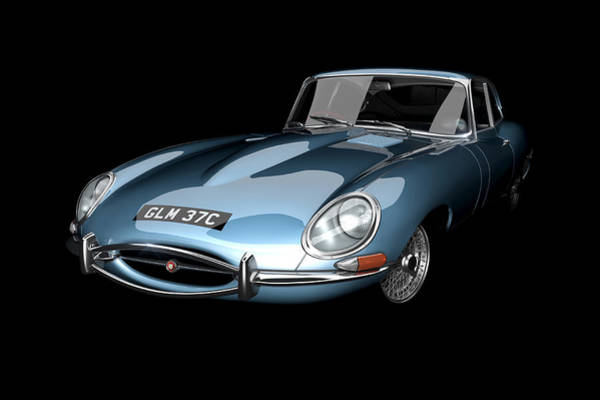 Sixties Digital Art - Bluebird E-type by Dan Lennard