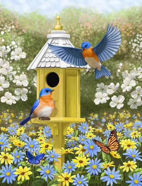 Peach Flower Wall Art - Painting - Bluebird Garden Home by Crista Forest
