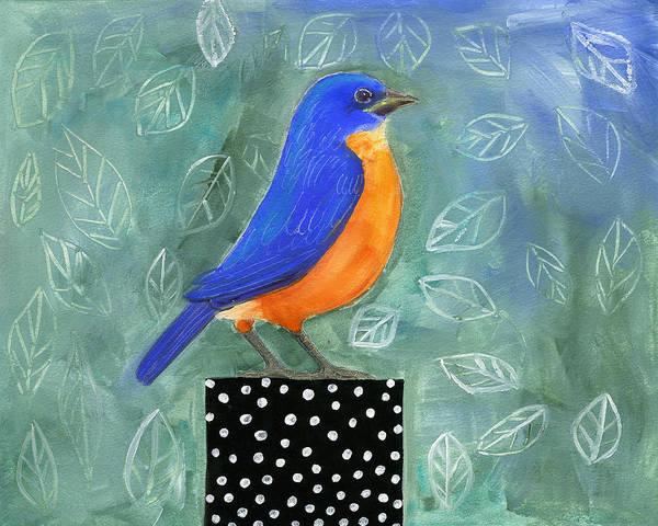 Wall Art - Painting - Bluebird Black Dot Box by Blenda Tyvoll