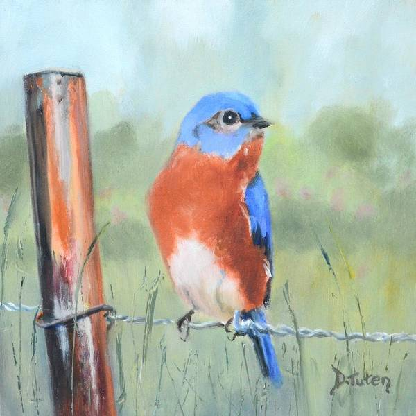 Painting - Bluebird On Barbed Wire Oil Painting by Donna Tuten