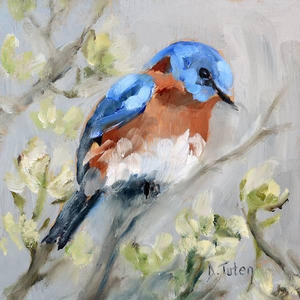 Painting - Bluebird On Dogwood by Donna Tuten