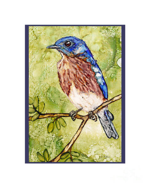 Painting - Bluebird On Green by Jan Killian