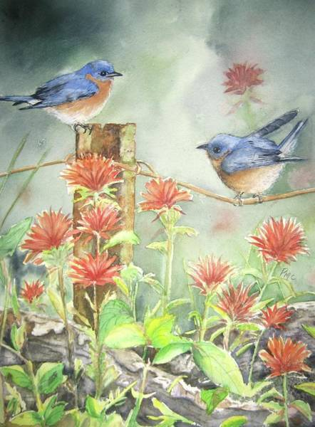 Bluebird Painting - Bluebirds And Indian Paintbrush by Patricia Pushaw