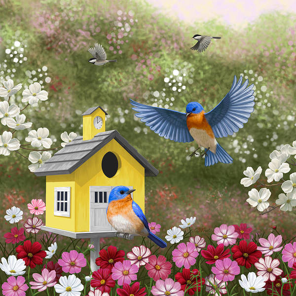 Dogwood Painting - Bluebirds And Yellow Birdhouse by Crista Forest