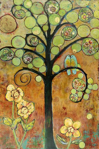 Wall Art - Painting - Bluebirds In Paradise Tree by Blenda Studio