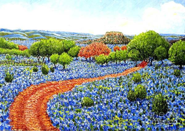 Painting - Bluebonnets Across Texas by Santiago Chavez