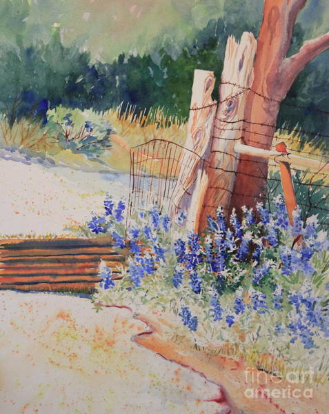 Central Texas Painting - Bluebonnets At The Cattle Guard by Marsha Reeves