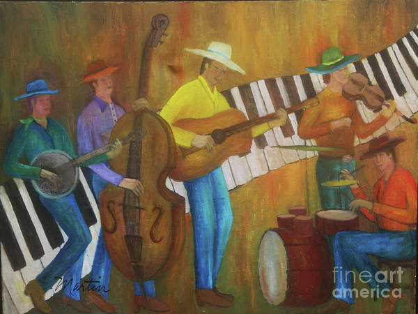Wall Art - Painting - Bluegrass Jazz Sextet by Larry Martin