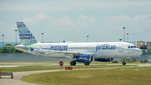 Jetblue Wall Art - Photograph - Bluemanity-2 by Guy Whiteley