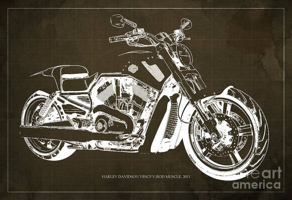 Harley Davidson Painting - Blueprint 2011 Harley-davidson Vrscf V-rod Muscle - Brown Background by Drawspots Illustrations