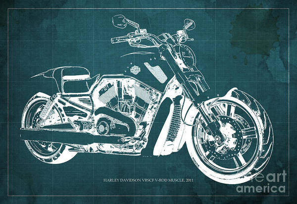 Harley Davidson Painting - Blueprint 2011 Harley-davidson Vrscf V-rod Muscle - Green Background by Drawspots Illustrations