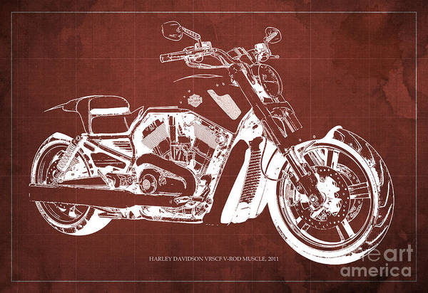 Harley Davidson Painting - Blueprint 2011 Harley-davidson Vrscf V-rod Muscle - Red Background by Drawspots Illustrations