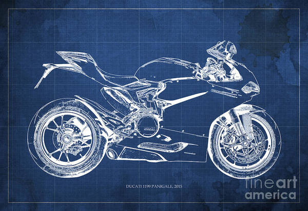 Wall Art - Painting - Blueprint Ducati Superbike 1299 Panigale 2015. Blue Background by Drawspots Illustrations