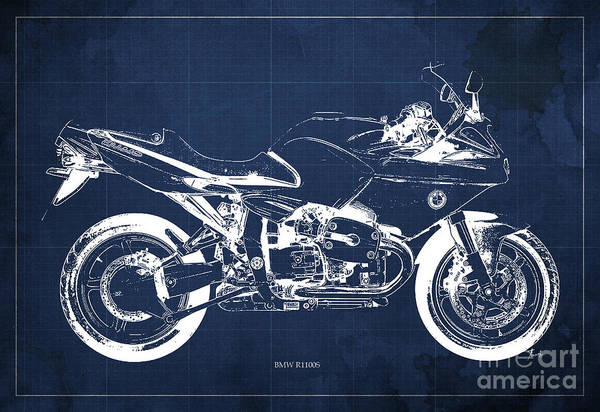 Moto Blueprint Wall Art - Digital Art - Blueprint For Men Office Decoration. R1100s Blue Background by Drawspots Illustrations