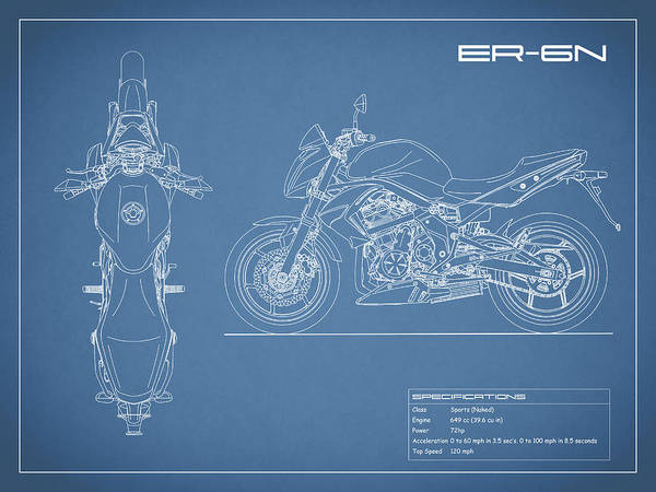 Er Photograph - Blueprint Of A Er-6n Motorcycle by Mark Rogan