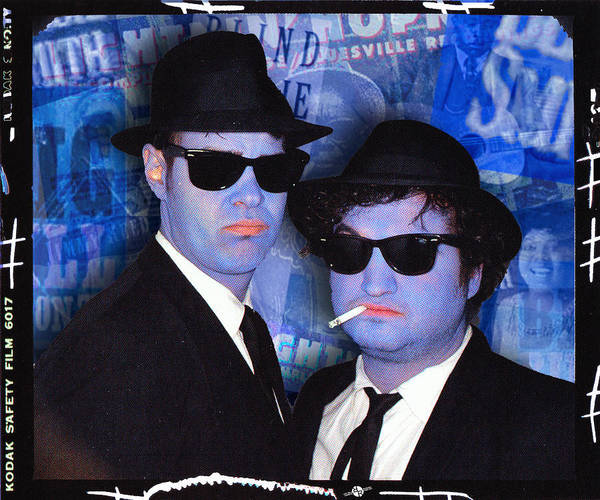 The Blues Brothers Painting - Blues Brothers Blue by Tony Rubino