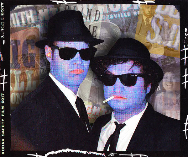 The Blues Brothers Painting - Blues Brothers Sepia by Tony Rubino