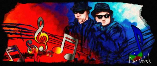 Elwood Blues Painting - Blues Brothers Tribute by Dale Nichols