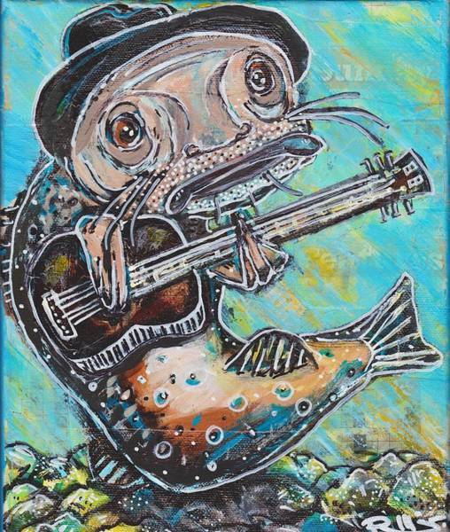 Mixed Media - Blues Cat Revisited by Robert Wolverton Jr