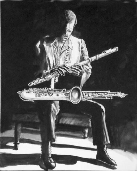 Sax Drawing - Blues In The Night by Lee Williams