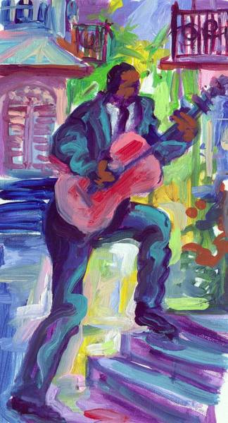Wall Art - Painting - Blues Man On Steps by Saundra Bolen Samuel