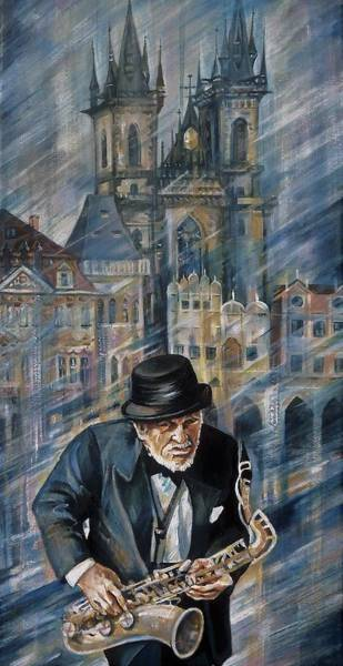 Sax Painting - Blues Of Prague. by Anna Duyunova
