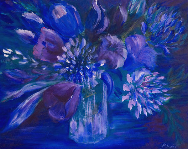 Painting - Blues To Brighten Your Day by Joanne Smoley