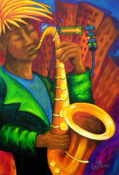 Sax Painting - Blues Urbain by Manon LaBadie