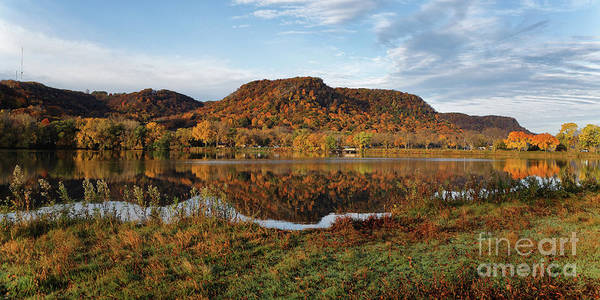 Photograph - Bluff Reflection And Shoreline Agree In Winona Minnesota by Kari Yearous