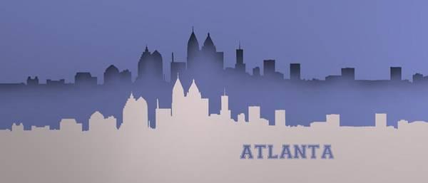 Digital Art - Bluish Atlanta Skyline by Alberto RuiZ
