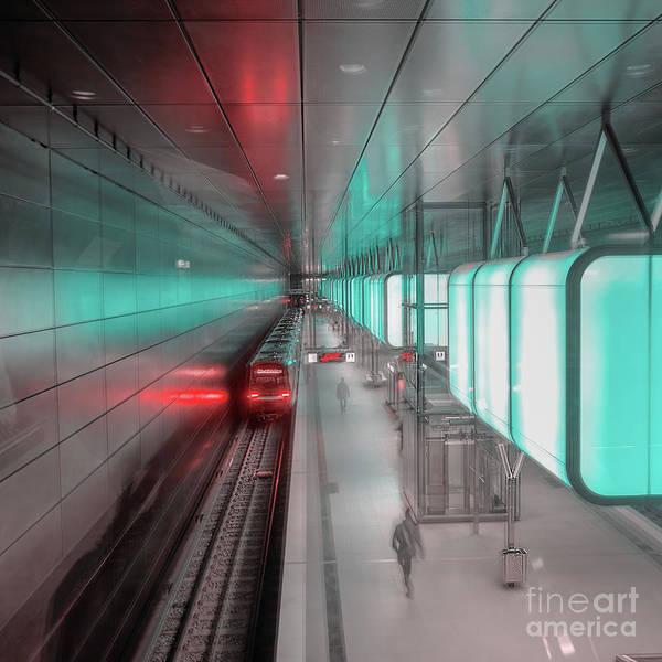 Photograph - Blurred Silhouette Of People On Subway Station by Marina Usmanskaya
