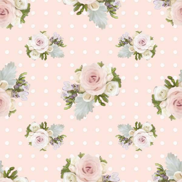 Girly Girl Painting - Blush Pink Floral Rose Cluster W Dot Bedding Home Decor Art by Audrey Jeanne Roberts