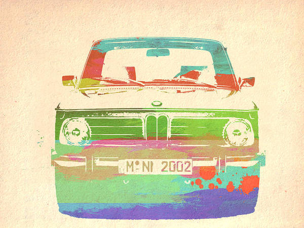 Classic Painting - Bmw 2002 Front Watercolor 3 by Naxart Studio