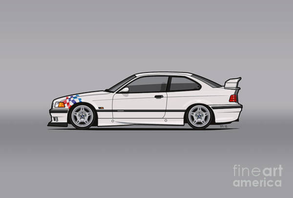Wall Art - Digital Art - Bmw 3 Series E36 M3 Coupe Lightweight White With Checkered Flag by Monkey Chrisis On Mars