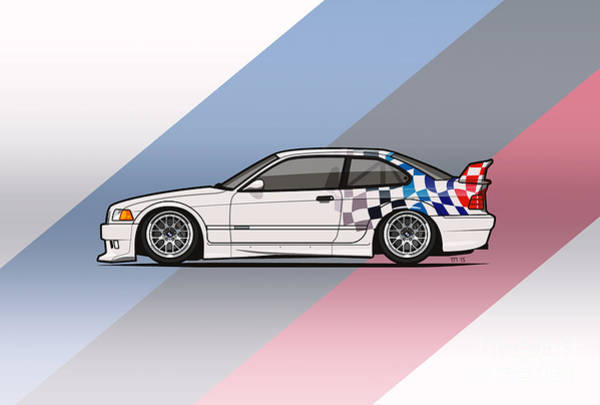 Classic Car Renderings Wall Art - Digital Art - Bmw 3 Series E36 M3 Gtr Coupe Touring Car by Monkey Crisis On Mars