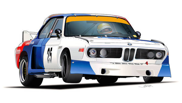0 Wall Art - Digital Art - Bmw 3.0 Csl Illustration 2 by Alain Jamar