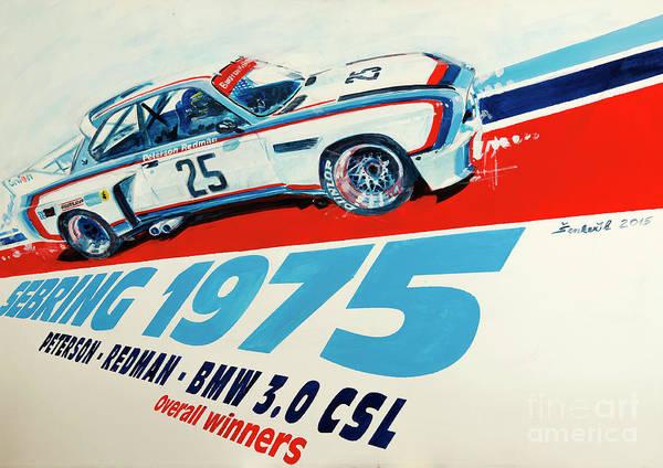 0 Painting - Bmw 3.0 Csl Sebring 1975 Peterson Redman by Daniel Senkerik