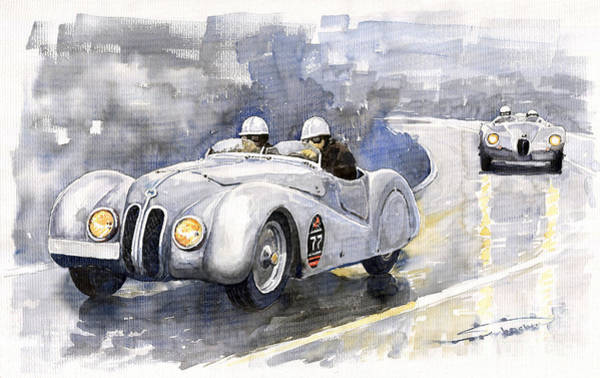 Watercolour Painting - Bmw 328 Roadster by Yuriy Shevchuk