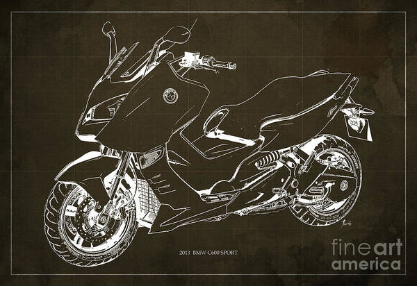 Bmw Painting - Bmw C600 Sport 2013, Blueprint, Brown And White Art Print by Drawspots Illustrations