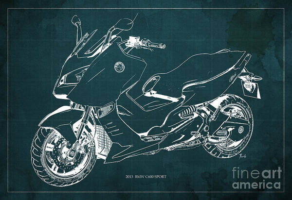Bmw Painting - Bmw C600 Sport 2013 Blueprint Green And White Art Print by Drawspots Illustrations