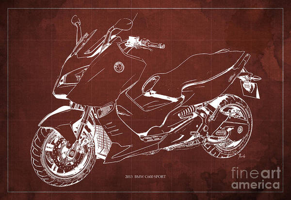 Transport Drawing - Bmw C600 Sport 2013 Blueprint Red And White Art Print by Drawspots Illustrations