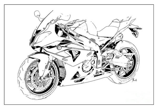Wall Art - Digital Art - Bmw Classic Motorcycle, Gift For Bikers, Christmas Gift For Men by Drawspots Illustrations