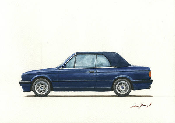 Wall Art - Painting - Bmw E30 Cabrio by Juan Bosco