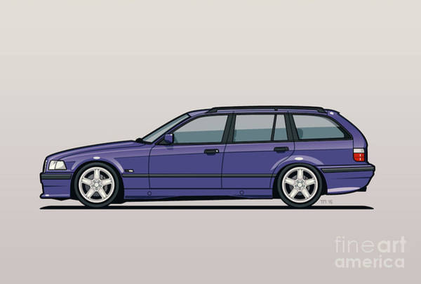 Wall Art - Digital Art - Bmw E36 328i 3-series Touring Wagon Techno Violet by Monkey Crisis On Mars
