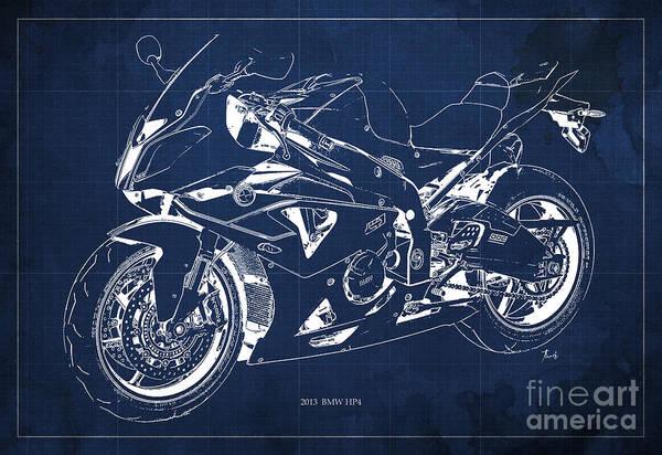 Fineartamerica Wall Art - Digital Art - Bmw Hp4 2013 Blueprint Motorcycle, White Line, Vintage Background by Drawspots Illustrations