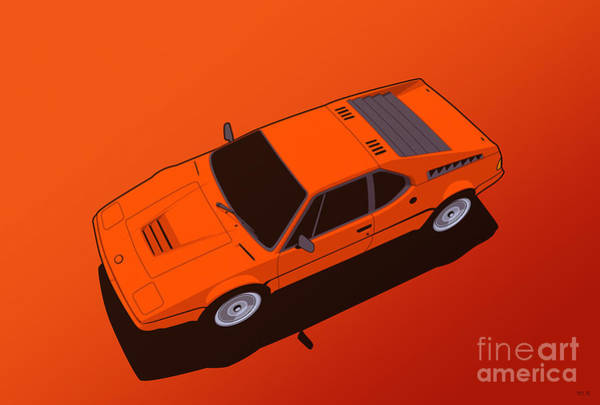 Wall Art - Digital Art - Bmw M1 E26 Red Orange by Monkey Crisis On Mars